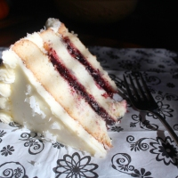 Triple Layer Buttermilk Sponge Cake with Cranberry-Cherry Filling