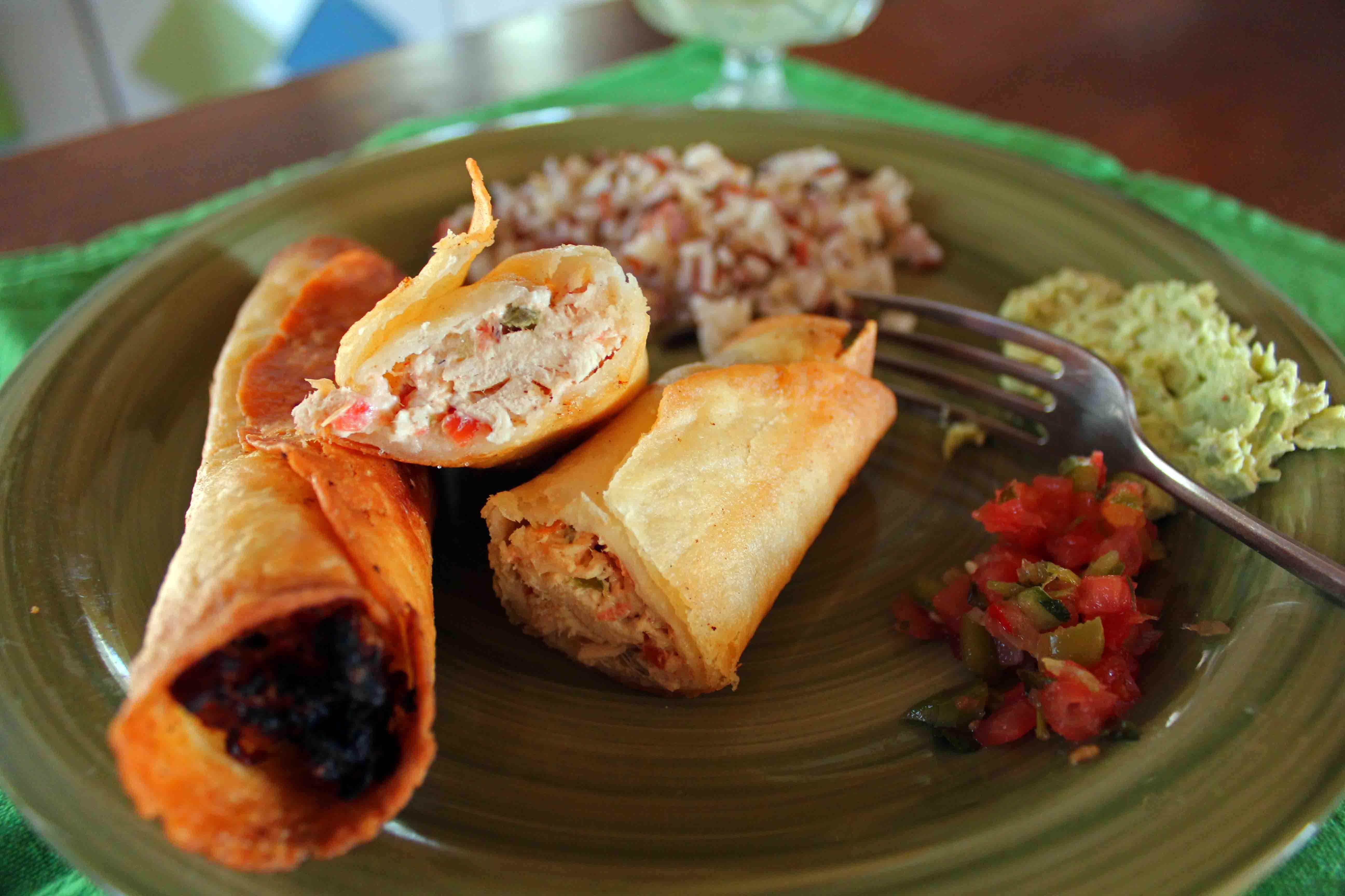 Chicken Taquitos & Avocado Honey Lime Dip | fidget smile wave